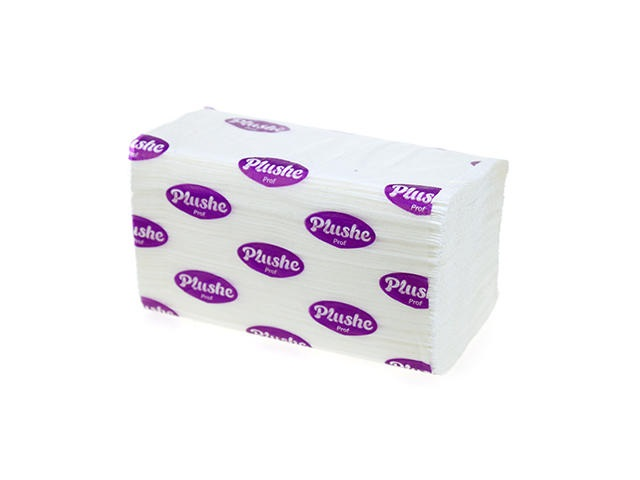 Полотенце бумажное двухслойное 150л белое V-сложенные 22*22см Plushe Classic