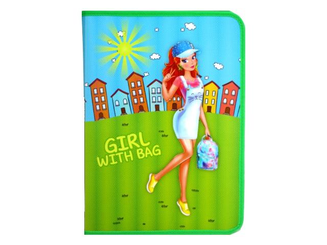 Папка для труда А4 пластик на молнии с отворотом Девочка с рюкзачком Пчелка ПТР-5
