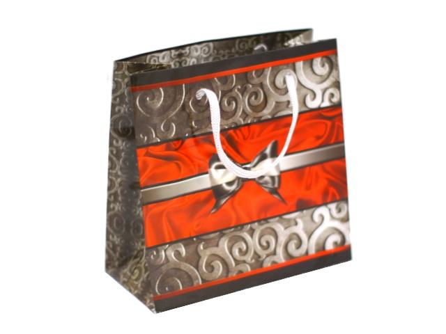 Пакет подарочный бумажный 16*16см Серый бант 11-12-1252