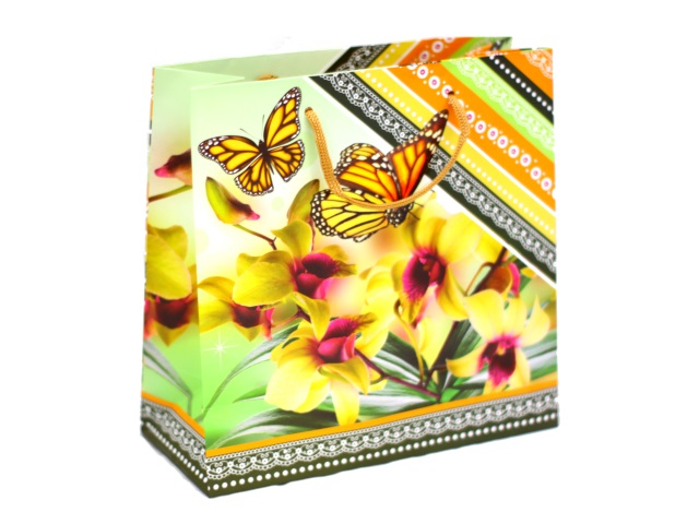 Пакет подарочный бумажный 22.5*23см Орхидеи и бабочки 11-04-1206