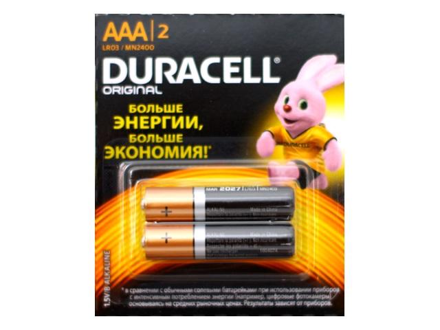 Батарейка минипальчиковая 2 шт. LR03 Duracell 1.5V