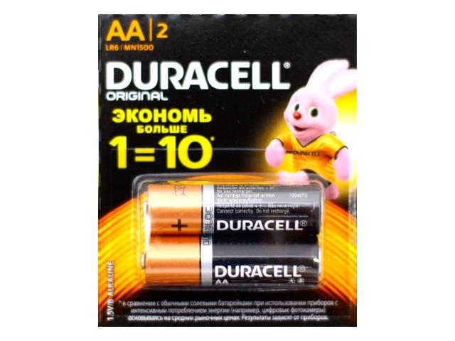 Батарейка пальчиковая 2 шт. LR6 Duracell 1.5V