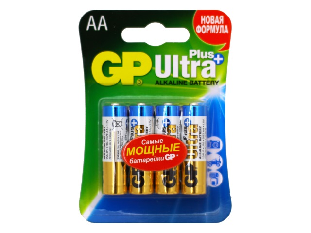 Батарейки пальчиковые 4 шт. LR6 GP 1.5V Ultra Plus щелочные