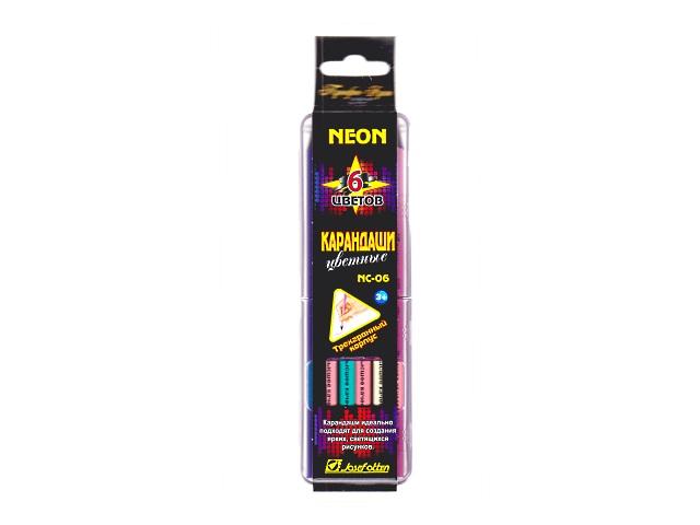 Карандаши цветные  6цв J.Otten Профи-Арт трехгранные неоновые в пенале NC-06