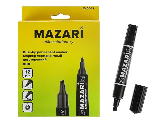 Маркер перманентный Mazari Duo черный 2-6мм двухсторонний М-5003-71