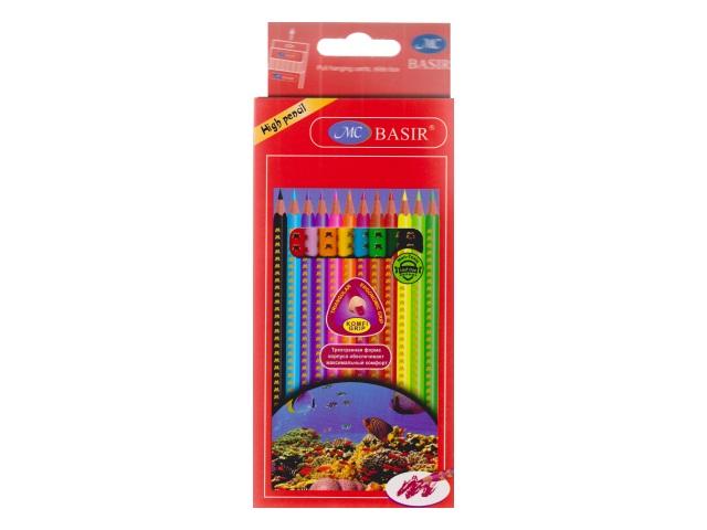 Карандаши цветные 12цв Basir трехгранные Подводный мир МС-3728-12