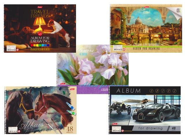 Альбом 48л А4 спираль Ассорти 120 г/м2 Hatber 48А4Всп