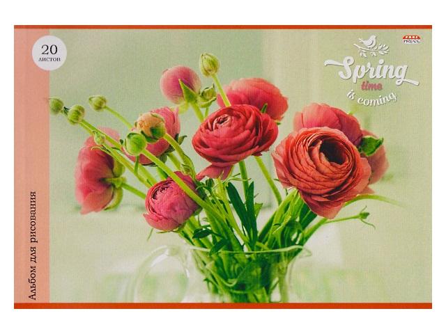 Альбом 20л А4 клееный Розовые цветы в кувшине Prof Press 20-1265