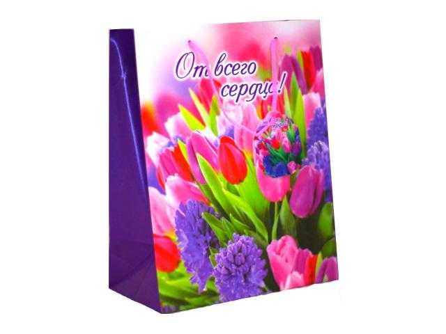 Пакет подарочный бумажный 23*18*10см Цветы Schreiber S-2558