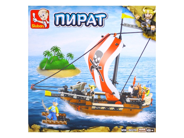 Конструктор  226 деталей Sluban Пиратский корабль M38-B0279