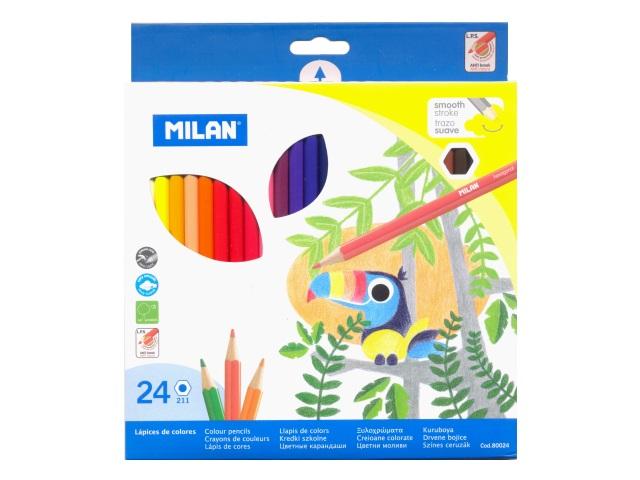 Карандаши цветные 24цв Milan Smooth шестигранные MI-80024