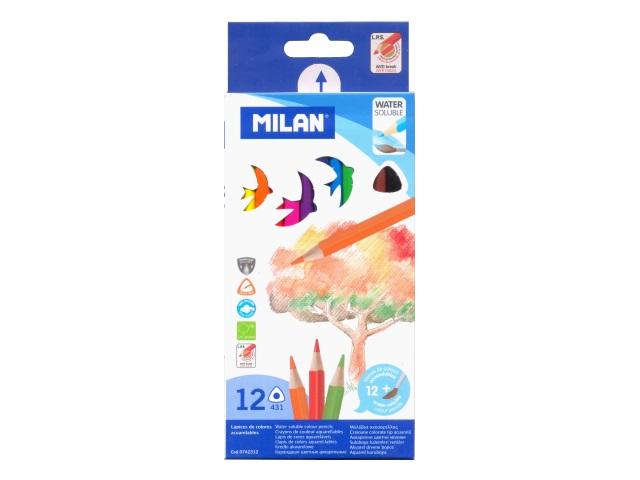 Карандаши цветные 12цв Milan акварельные трехгранные MI-0742312
