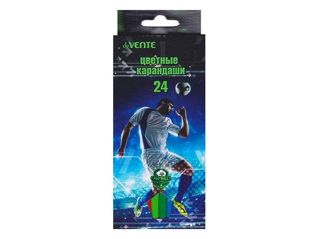Карандаши цветные 24цв DeVente Football Club шестигранные 5024705
