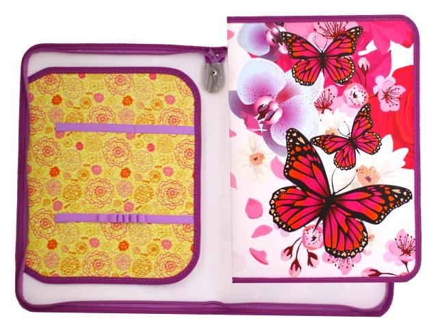 Папка для труда А4 пластик на молнии с отворотом Бабочки в цветах Пчелка ПТР-5