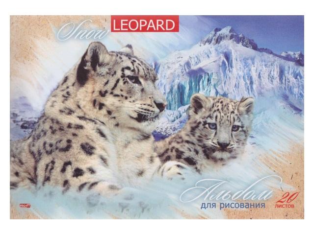 Альбом 20л А4 на скобах Снежные барсы и горы 100 г/м2 Profit 20-9040
