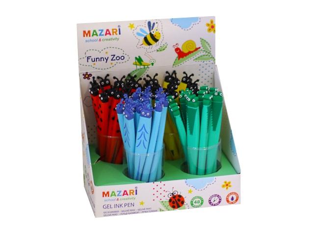 Ручка гелевая детская Mazari Funny Zoo синяя 0.5мм М-5308D-70