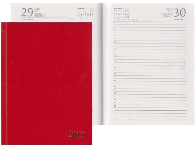 Ежедневник 2019 А5 бумвинил 168л красный Prof Press 168-1529