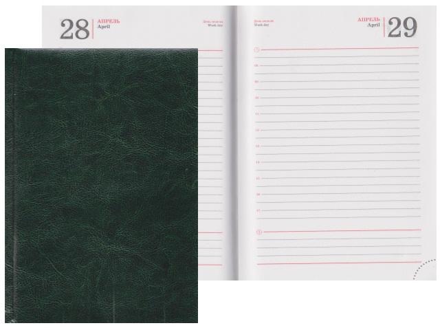 Ежедневник А5 полудатированный кожзам 192л Виладж зеленый Prof Press 192-0695