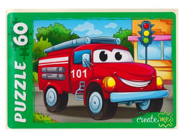 Пазлы   60 деталей Пожарная машинка У60-7215