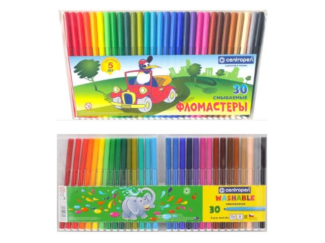 Фломастеры 30цв Centropen Rainbow Kids смываемые 7790-30 7550-30