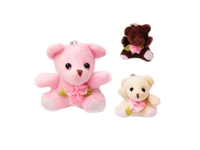 Брелок мягкая игрушка Мишка с розой 6см 200154959
