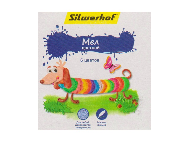 Мел  6 цветов квадратный Пластилиновая коллекция Silwerhof 882081-06