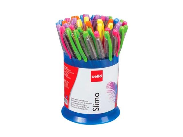 Ручка масляная Cello Slimo синяя 0.7мм