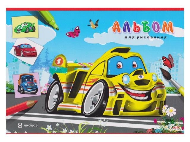Альбом  8л А4 на скобах Желтый гонщик 100 г/м2 Prof Press 08-2603
