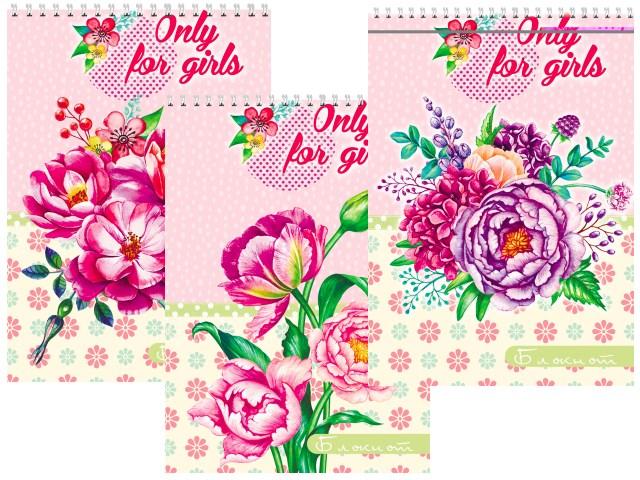 Блокнот А7 спираль сверху м/обложка  40л Букет цветов Prof Press Б40-7743