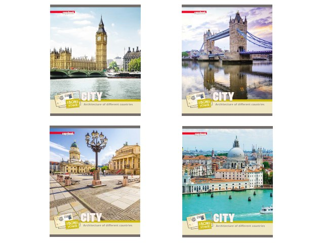 Тетрадь 96л клетка Города Европы-4 Profit 96-0341