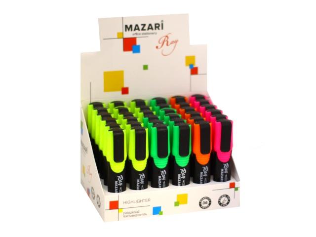 Маркер текстовый Mazari Ray 4 цвета в ассортименте скошенный 1-5мм M-4583