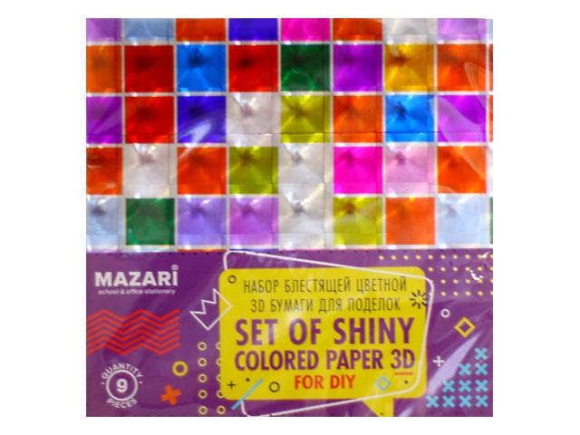 Бумага цветная 15*15см  9л 9цв Mazari 3D M-4467