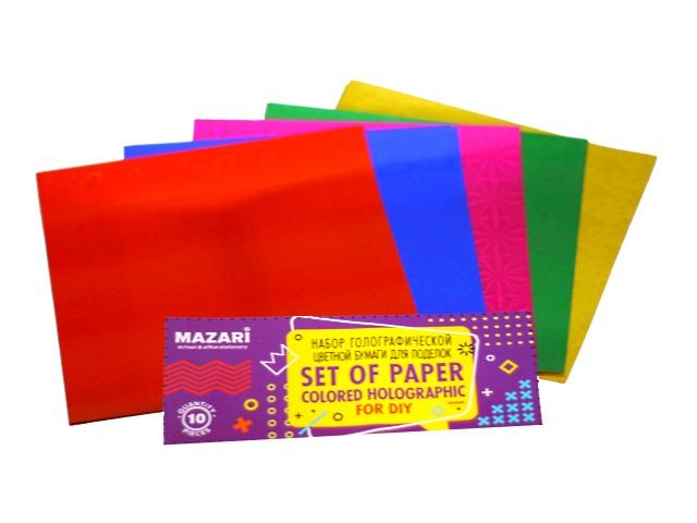 Бумага цветная 15*15см 10л 5цв Mazari голография M-4469