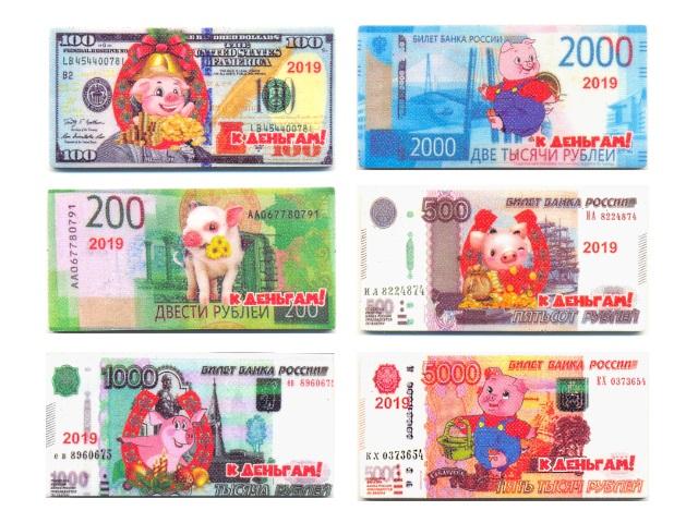Символ года Магнит Eva Деньги со свинкой