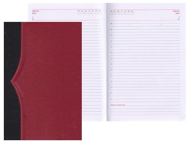 Ежедневник А5 кожзам 136л Комби черный/красный Collezione 136-1215