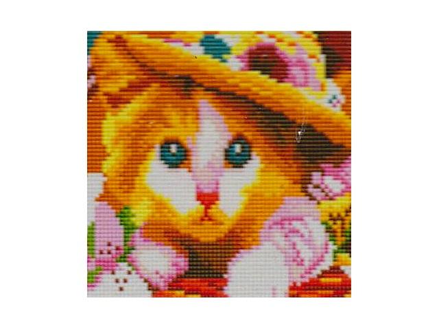 Алмазная мозаика 20*20см Котенок в шляпе Рыжий кот АС20002