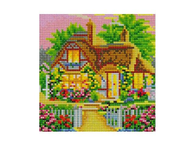 Алмазная мозаика 20*20см Красивый дом Рыжий кот АС20010