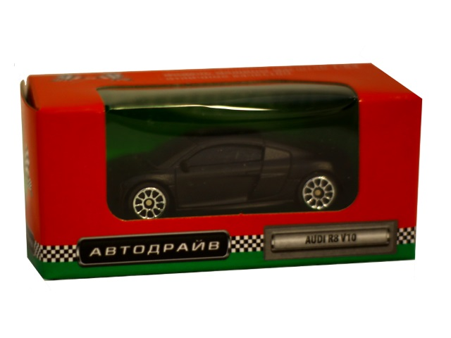 Машина инерционная  7 см Audi R8 V10 матовая черная Автодрайв И-6006