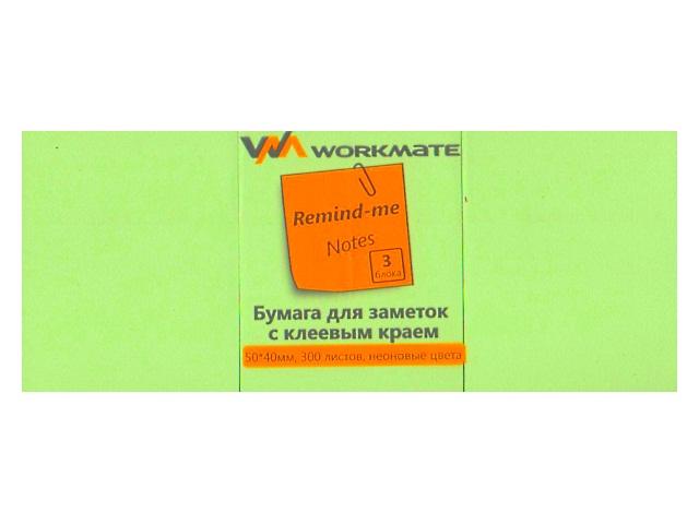 Стикер 50* 40мм WM 300л (3 блока по 100л) неон зеленый 003003804