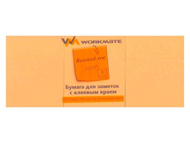 Стикер 50* 40мм 300л (3 блока по 100л) неон оранжевый WM 003003812