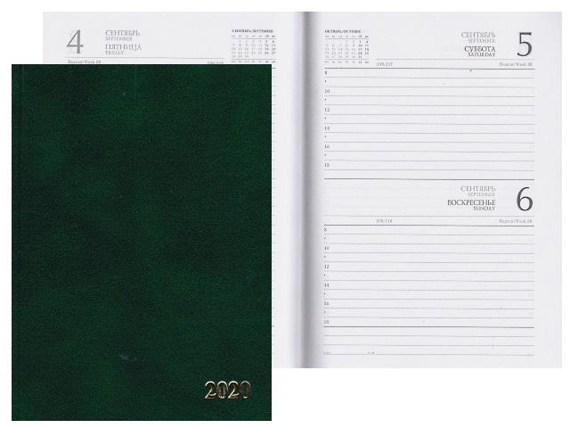 Ежедневник 2019 А5 бумвинил 168л зеленый Prof Press 168-1527