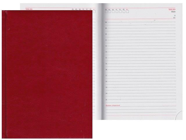 Ежедневник А5 кожзам 160л Виладж красный Collezione 160-0659