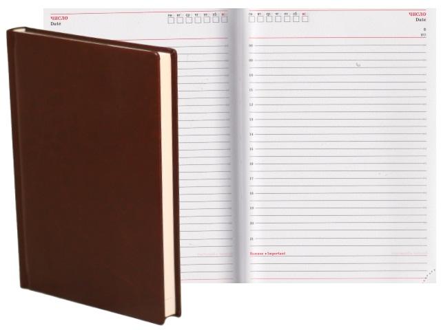 Ежедневник А5 кожзам 160л Виладж шоколадный Collezione 160-0664