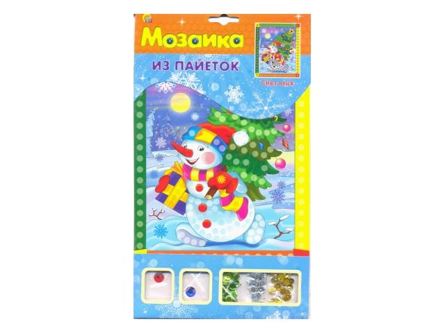 Мозаика из пайеток А4 Снеговик Рыжий кот М-8543