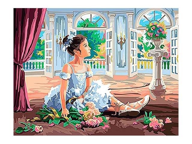 Картина по номерам 30*40см Девочка-балерина Рыжий кот Х-0403