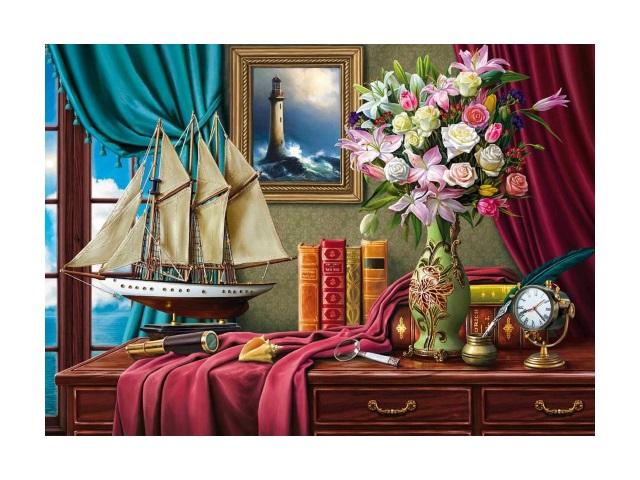 Картина по номерам 30*40см Натюрморт с кораблем Рыжий кот Х-0408