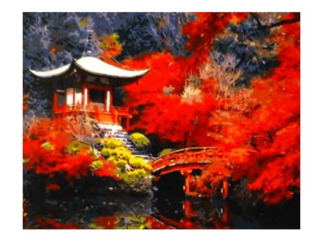 Картина по номерам 40*50см Китайская архитектура Рыжий кот Q226