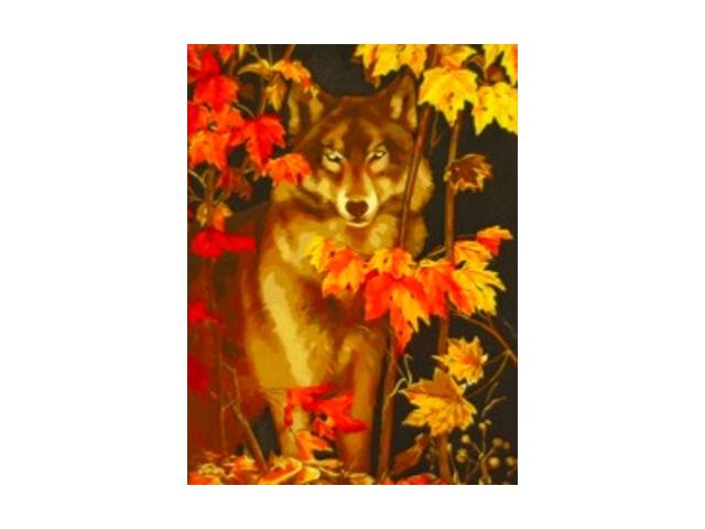 Рисование по дереву по номерам 30*40см Осенний волк Рыжий кот AWD3015
