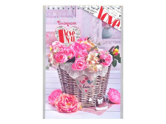 Блокнот А5 спираль сверху м/обложка  48л Розовые цветы Plano С0712-52