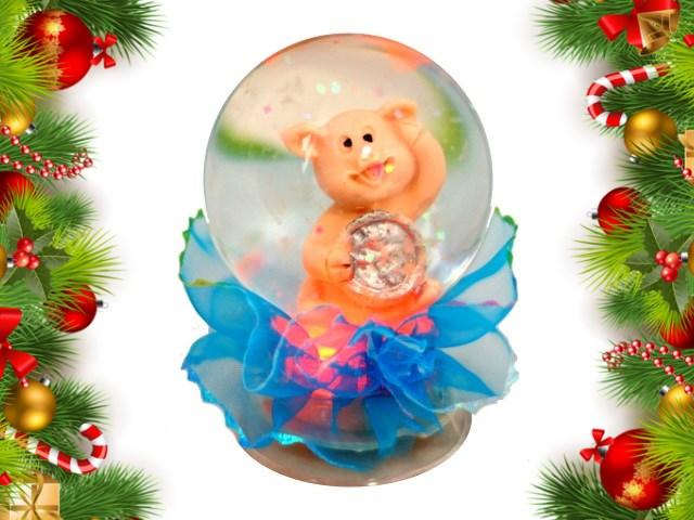 Символ года Сувенир Шар светящийся Свинка/Елка/Дед Мороз 7см SP-02